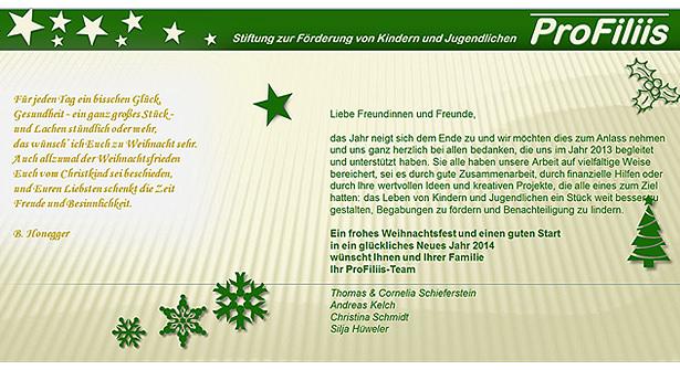 Weihnachtsgruß der ProFiliis-Stiftung