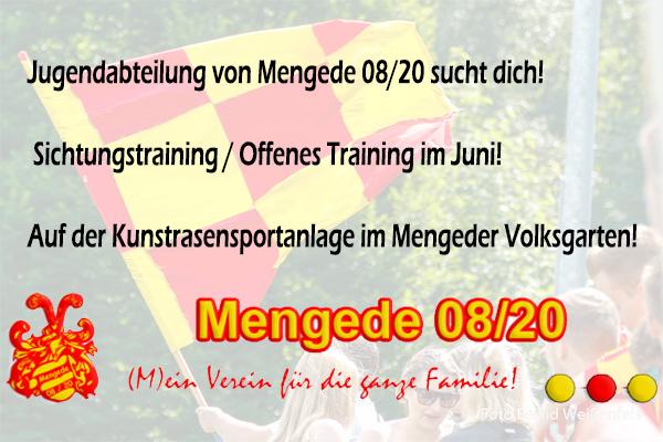 Sichtungstraining / Offenes Training Jugendabteilung Mengede 08/20